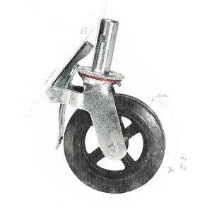Roulette 8″ avec frein
